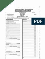 Presidential Primary Specimen Ballots for Hamilton, Mass.