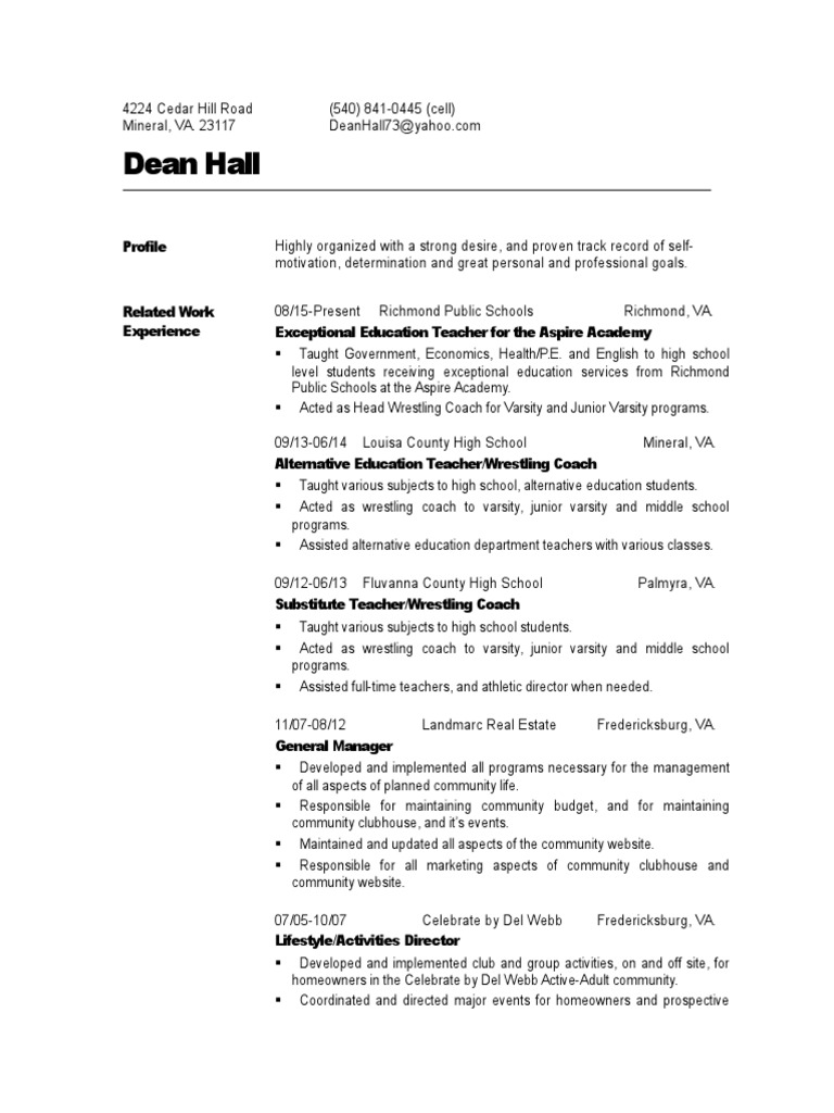 dean halls updated resume secondary school study skills