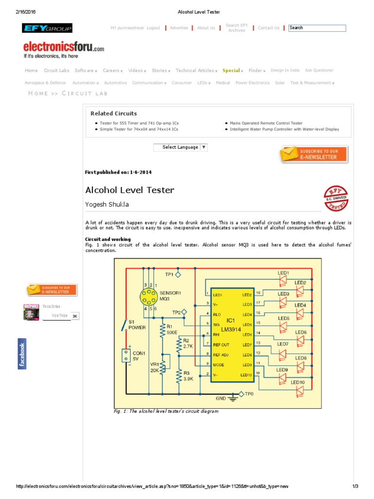 Alcohol Level Tester Electronic Circuits Printed Circuit Board Clap Switch Using Ne555 Timer Ic Gallery