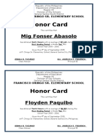 sample Honor Card