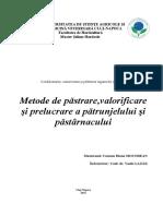 Metode de Pastrare, Valorificare Si Prelucrare a Patrunjelului Si Pastarnacului