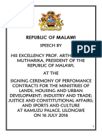 Speech by President Arthur Peter Mutharika at the Signing Ceremony of Four Additional Performance Contracts With Ministries at Kamuzu Palace on 16 February 2016