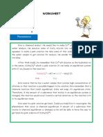 Student's Worksheet for Inquiry Lab - Equilibrium