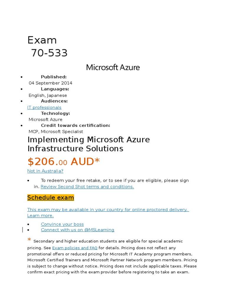 Microsoft azure 70 533 exam syllabus test assessment cloud microsoft azure 70 533 exam syllabus test assessment cloud computing xflitez Images