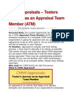 CMMI Appraisals – Testers Journey as an Appraisal Team Member