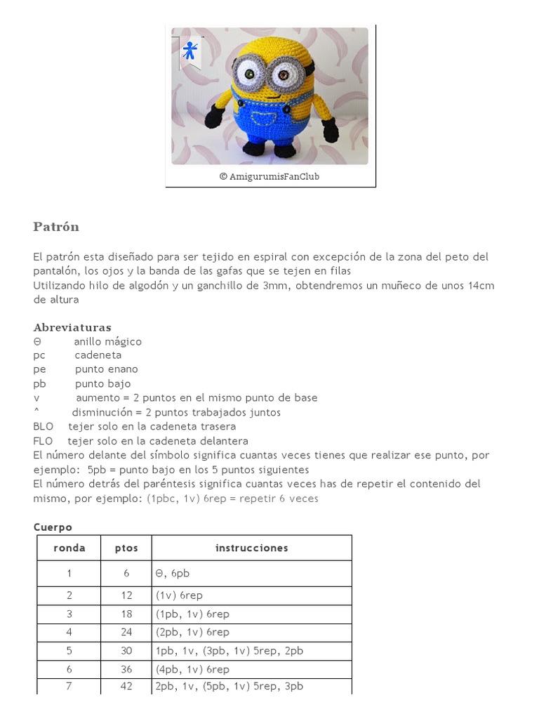 AmigurumisFanClub_ the Minions (I) BOB | Crochet | Woven Fabrics
