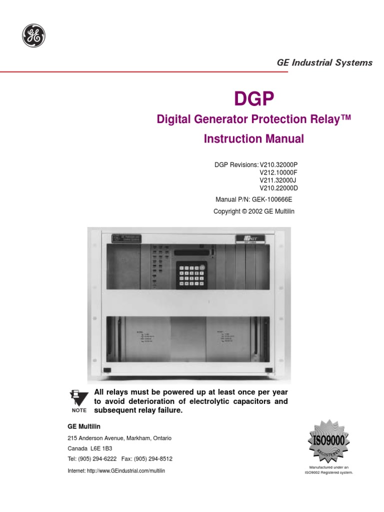 digital generator protection relay instruction manual electrical