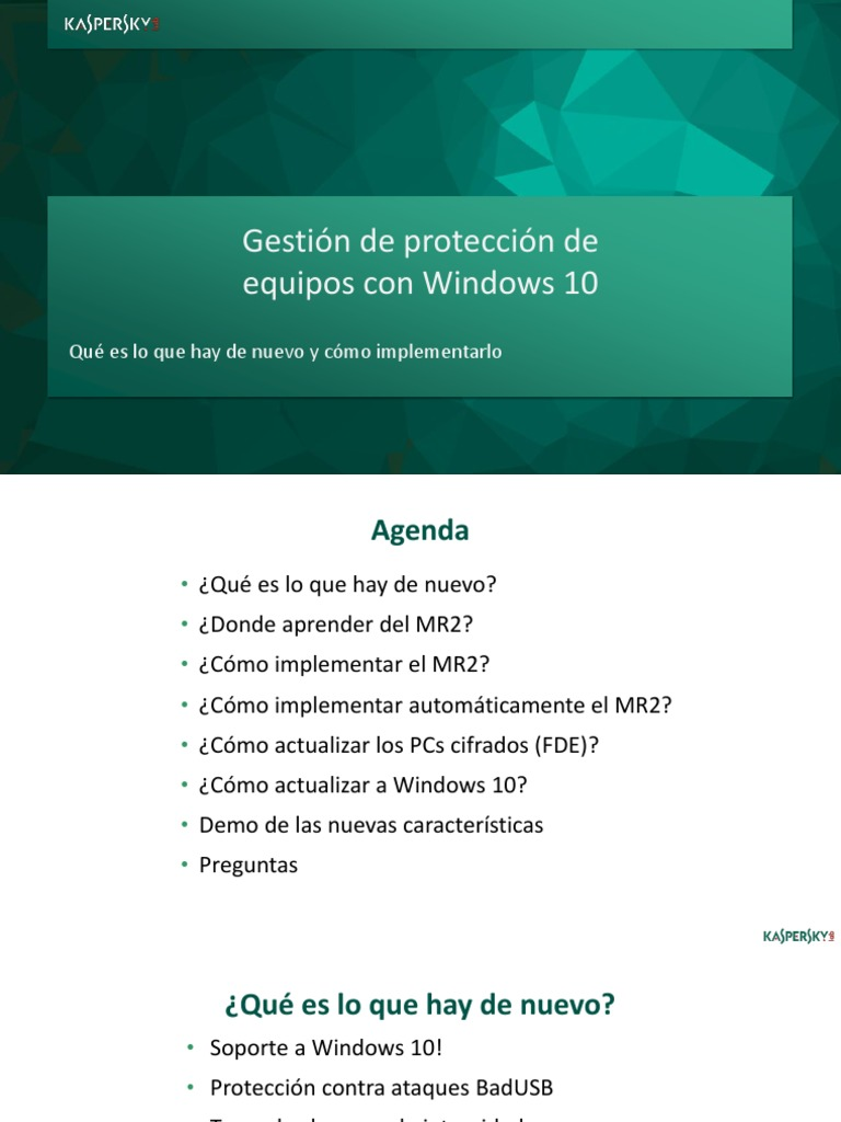 KES 10 SP1 MR2 Para Windows 10