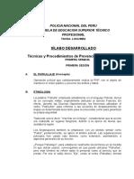 Silabus Desarrollado de Tecnicas y Procedimientos de Prevencion Patrullaje