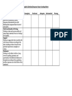response paper rubric