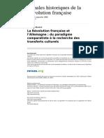 Ahrf 266 317 La Revolution Francaise Et l Allemagne Du Paradigme Comparatiste a La Recherche Des Transferts Culturels