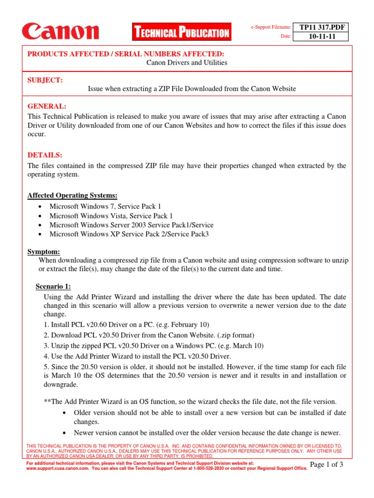 Products Affected / Serial Numbers Affected:: TP11 317 PDF 10-11-11