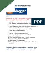 Actividades de Creacion de Blog en Blogger