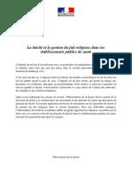 Guide Laïcité Et Gestion Du Fait Religieux Dans Les Établissements Publics de Santé