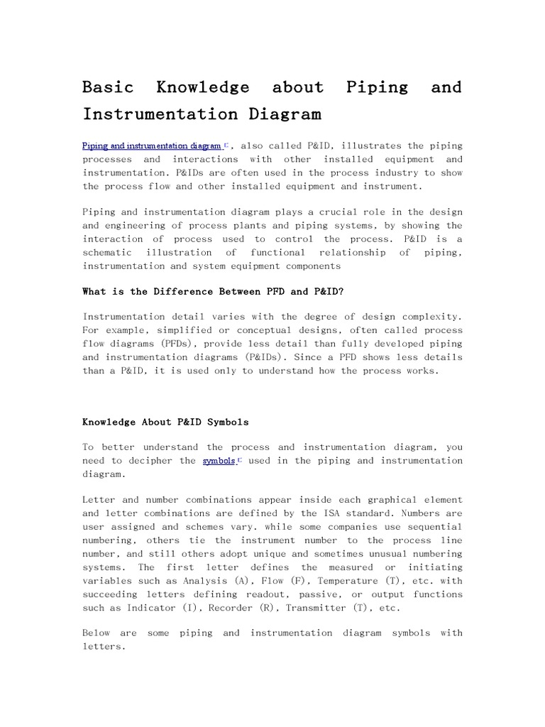Basic Knowledge About Piping And Instrumentation Diagram