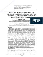 GREY RELATIONAL ANALYSIS TO OPTIMIZE WELDING PARAMETERS FOR DISSIMILAR SHEETS OF MATERIAL IN RESISTANCE SPOT WELDING
