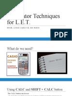 Calculator Techniques for LET