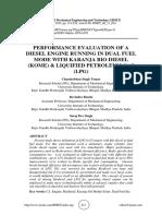 PERFORMANCE EVALUATION OF A DIESEL ENGINE RUNNING IN DUAL FUEL MODE WITH KARANJA BIO DIESEL (KOME) & LIQUIFIED PETROLEUM GAS (LPG)