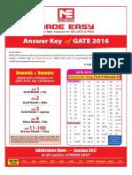 GATE 2016 KEY