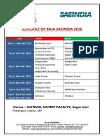 Schedule of Baja Saeindia 2016