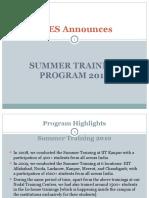 Program Highlights - Summer Training 2010