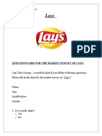 Lays Questionnaire for the Market Survey