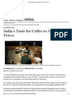 India's Taste for Coffee to Affect Bean Prices - WSJ