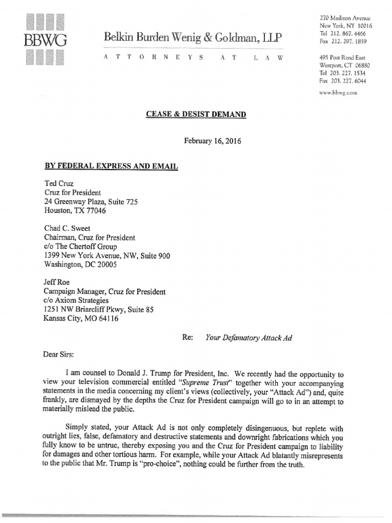 trump cease-and-desist letter