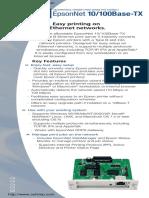 Epson c12c824352 Internal Ethernet Print Server Spec Sheet