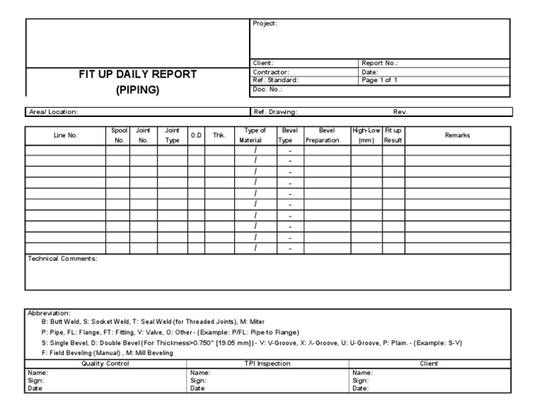 Piping Daily Fit Up Quality Control And Inspection Report Form Pipe Fluid Conveyance Building Materials