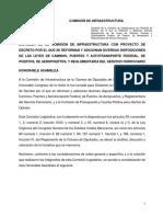 proyecto de dictamen que reforma y adiciona las Leyes de Caminos, Puentes y Autotransporte Federal; de Puertos; de Aeropuertos y Reglamentaria del Servicio Ferroviario.