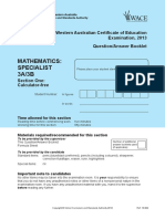 Maths Specialist 3A3B Calc Free Exam 2013