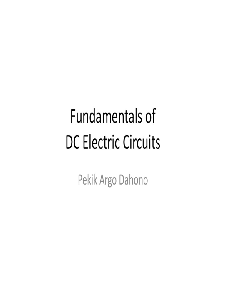 Fundamentals Of Dc Circuits By Pekik Voltage Electric Current