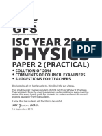 ISC Physics Practical Paper 2 2014 Solved Paper