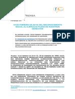 Nota de Prensa. FAE, 18-2-2016