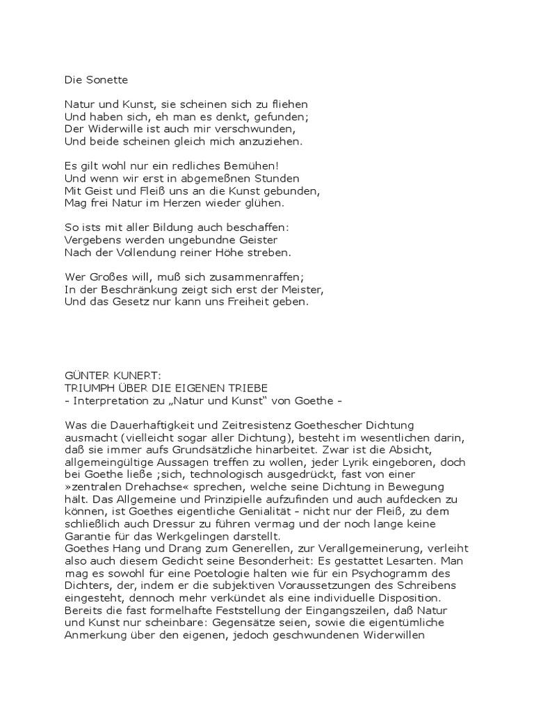 Wolfgang gedichte goethe johann natur von Goethe