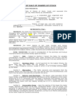 Deed of Sale of Shares of Stock