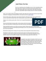 Cara Menang Main Judi Poker On line