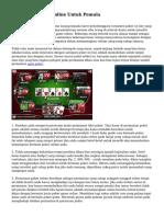 Tips Main Poker Online Untuk Pemula