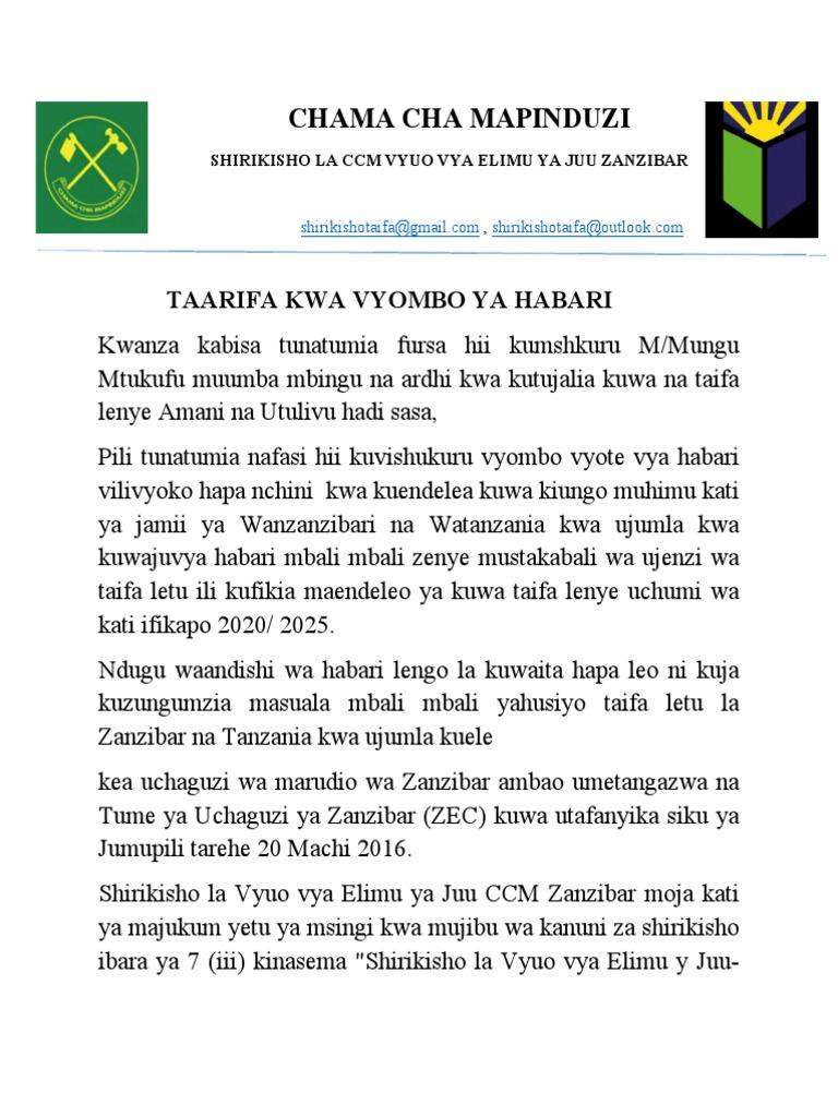 TAARIFA KWA VYOMBO YA HABARI pdf