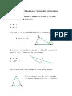 Propiedades de Los Lados y Angulos en Un Triangulo