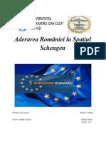 Aderarea României la spațiul Scengen  din punctul de vedere al relațiilor internaționale