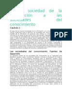 De La Sociedad de La Información a Las Sociedades Del Conocimiento Primera Actividad