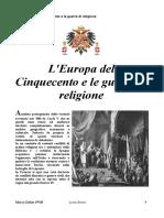 L'Europa del 500 e le guerre di religione