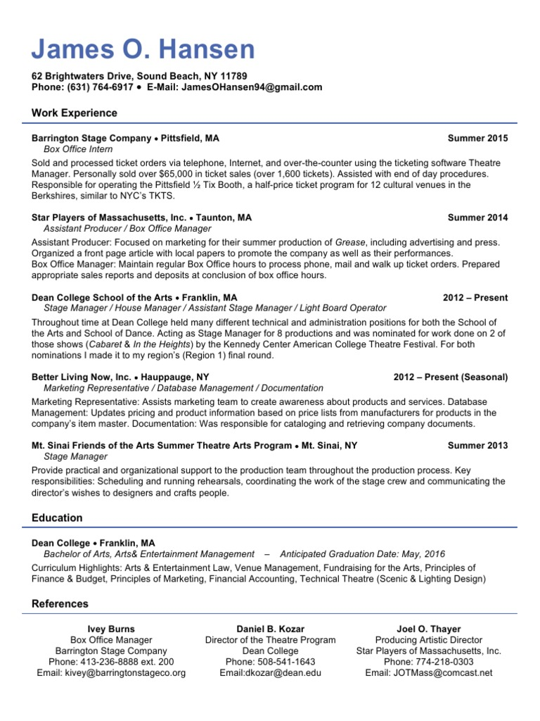 Professional Resume | Theatre | Business
