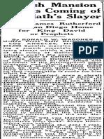 Spanish Mansion Awaits Coming of Goliaths Slayer, Salt Lake Telegram, March 23, 1930