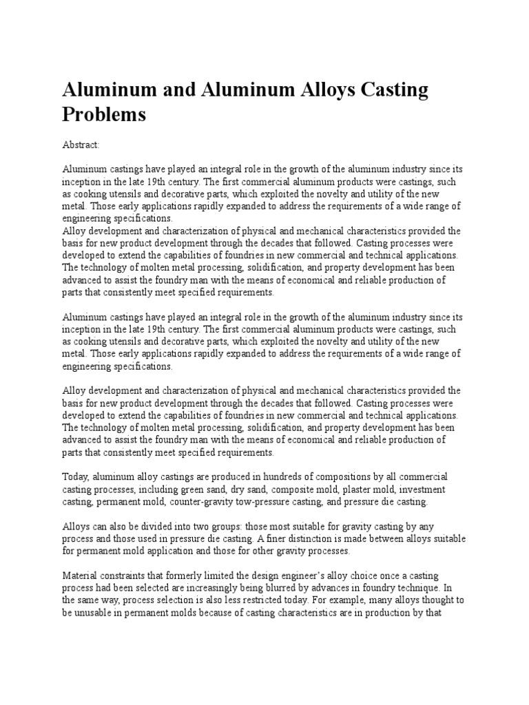 Aluminum and Aluminum Alloys Casting Problems | Casting