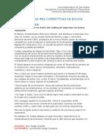 Cinco Empresas Más Competitivas en Bolivia