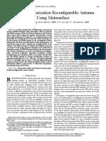 Design of Polarization Recon figurable Antenna Using Metasurface