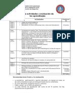 Cronograma y Evaluación de Los Aprendizajes